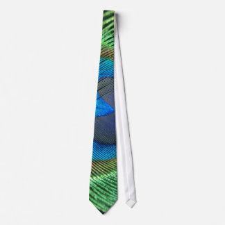 カラフルな緑の孔雀 ネクタイ