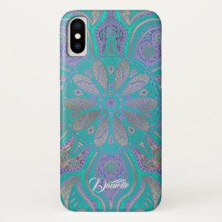 カラフルな緑の紫色の金ゴールドの曼荼羅のiPhone Xの箱 iPhone X ケース