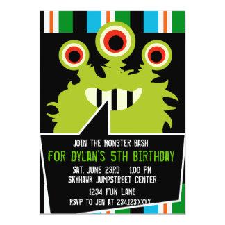 カラフルな緑モンスターのバースデーパーティ招待状 カード