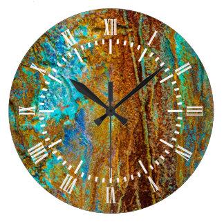カラフルな腐食 ラージ壁時計