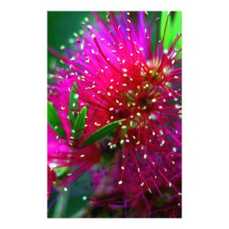 カラフルな自然の花のショッキングピンクのネオン緑の花 便箋