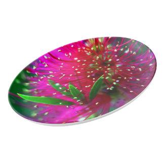 カラフルな自然の花のショッキングピンクのネオン緑の花 磁器大皿