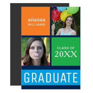 カラフルな色のブロックのモダンな写真の卒業パーティー 12.7 X 17.8 インビテーションカード