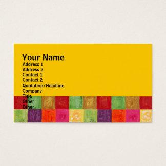 カラフルな色の格子図形の黄色 名刺