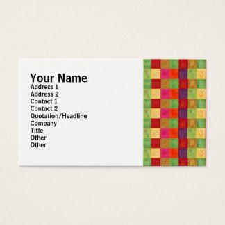 カラフルな色の格子図形 名刺