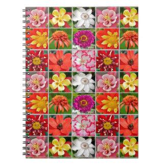 カラフルな花のコラージュのプリントのノート ノートブック