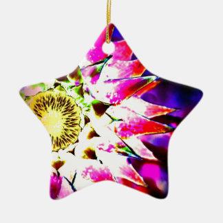 カラフルな花のデジタル写真のデザイン 陶器製星型オーナメント