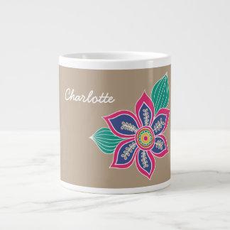 カラフルな花のボヘミアのBohoによっては名前をカスタムするが開花します ジャンボコーヒーマグカップ