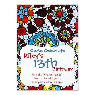 カラフルな花のモザイク円の泡デザイン カード