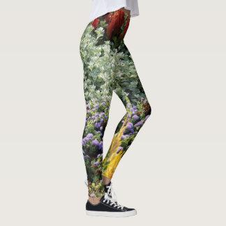 カラフルな花の写真のレギンス、M レギンス