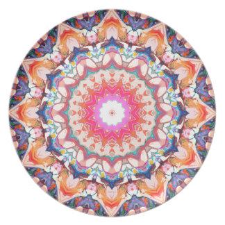 カラフルな花の抽象芸術 プレート