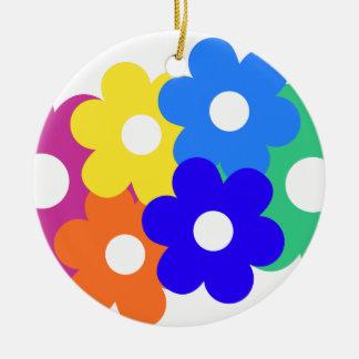 カラフルな花の束 セラミックオーナメント