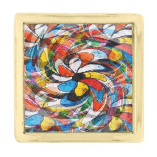 カラフルな花の第一次抽象芸術 ゴールド ラペルピン