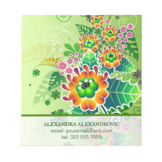 カラフルな花の罪状認否手続のイラストレーションのテンプレート ノートパッド