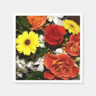 カラフルな花の花束の写真 スタンダードカクテルナプキン