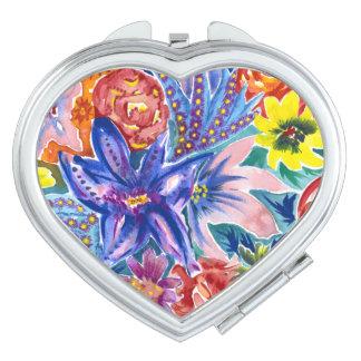 カラフルな花の花束の水彩画のコンパクトの鏡