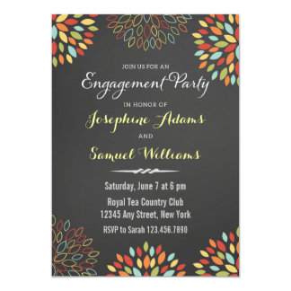 カラフルな花の黒板の婚約の招待状 カード