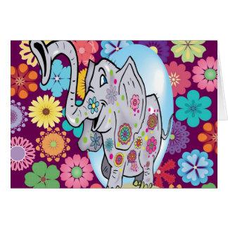 カラフルな花を持つかわいいヒッピー象 カード