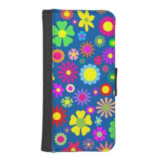 カラフルな花パターン iPhoneSE/5/5sウォレットケース