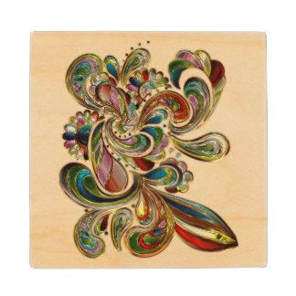 カラフルな花柄のステンドグラスの芸術のコースター ウッドコースター