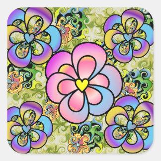 カラフルな花模様のステッカー スクエアシール
