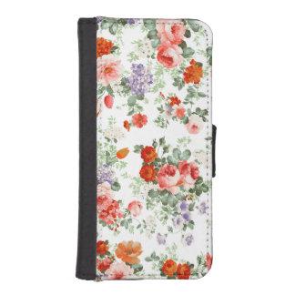カラフルな花模様の白の背景 iPhoneSE/5/5sウォレットケース