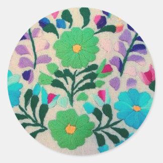 カラフルな花模様 ラウンドシール