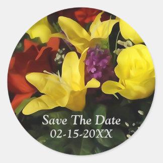 カラフルな花花束の保存日付のステッカー ラウンドシール