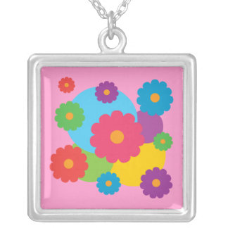 カラフルな花 シルバープレートネックレス