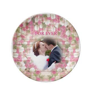 カラフルな花-結婚式、ピンクのバラのチューリップ、 磁器プレート