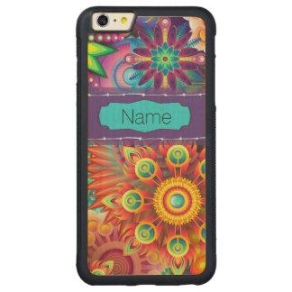 カラフルな花 CarvedメープルiPhone 6 PLUSバンパーケース