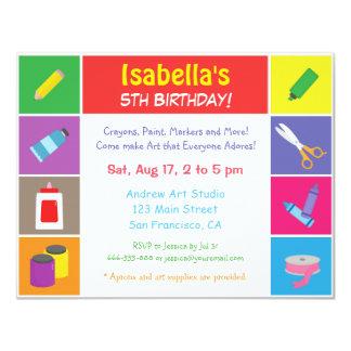カラフルな芸術および技術のテーマの子供の誕生日のパーティ カード
