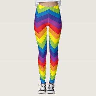 カラフルな虹のシェブロンのジグザグ形のレギンス レギンス