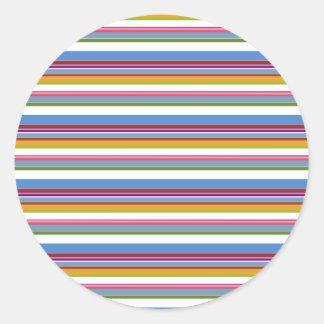 カラフルな虹のストライプ ラウンドシール