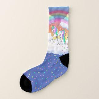カラフルな虹のユニコーンおよび星 ソックス