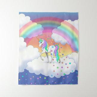 カラフルな虹のユニコーンおよび星 タペストリー