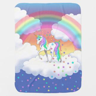 カラフルな虹のユニコーンおよび星 ベビー ブランケット