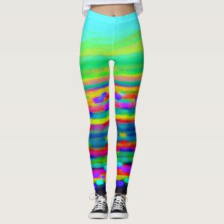カラフルな虹の抽象芸術のヨガのランニングのエクササイズ レギンス