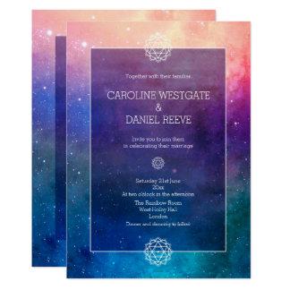 カラフルな虹の星雲の結婚式招待状 カード
