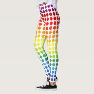 カラフルな虹の水玉模様 レギンス