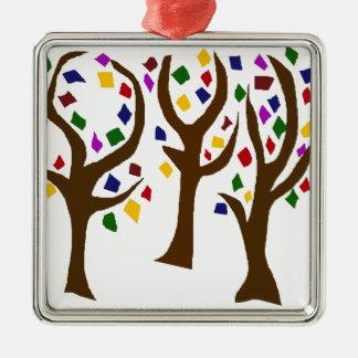 カラフルな虹の芸術の木 メタルオーナメント