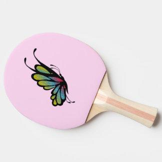 カラフルな虹の蝶ピンク 卓球ラケット