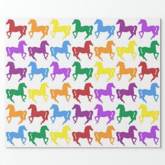 カラフルな虹の馬の包装紙 ラッピングペーパー