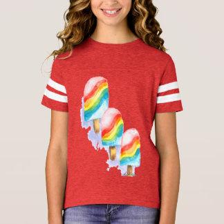 カラフルな虹の驚きのアイスキャンデー Tシャツ