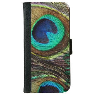 カラフルな虹色の孔雀の羽 iPhone 6/6S ウォレットケース