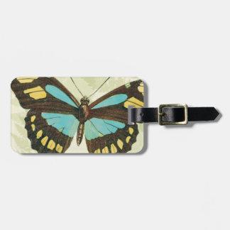 カラフルな蝶およびシダの葉 ラゲッジタグ