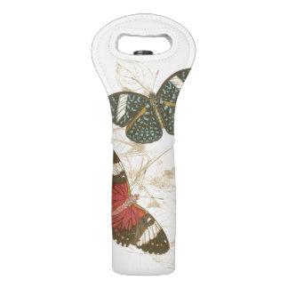 カラフルな蝶が付いているセピア色の葉 ワイントート