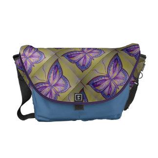 カラフルな蝶スケッチ メッセンジャーバッグ