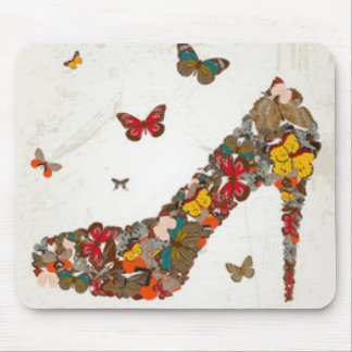 カラフルな蝶ハイヒール マウスパッド