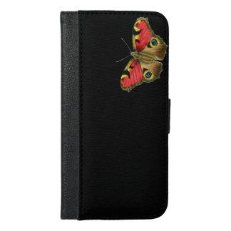 カラフルな蝶黒パターン iPhone 6/6S PLUS ウォレットケース